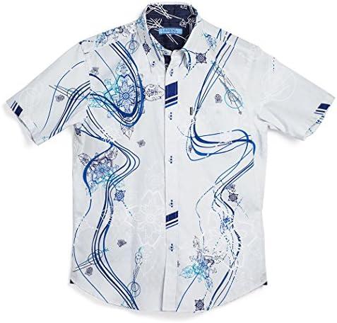 かりゆしウェア 沖縄版 アロハシャツ MAJUN マジュン かりゆし 結婚式 Mens 半袖シャツ ボタンダウン シーサーグヮーラインウェーブ
