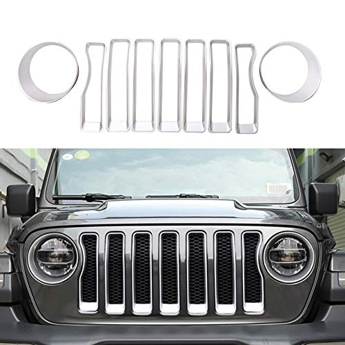 ALAVENTE Front Grille Grill Inserts & Headlight Covers Trim for 2018 Jeep Wrangler JL Sport/Sport S (Silver, Pack of 9)