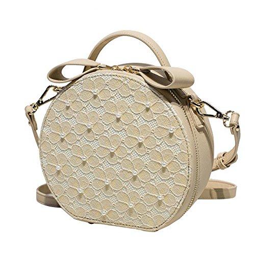 Meaeo Las Mujeres Bolsa Bolso Pu Bolsas De Hombro Circular Crossbody Bolsos Para Mujer Encaje Floral Zipper Disco Versátil Portátil Pearl