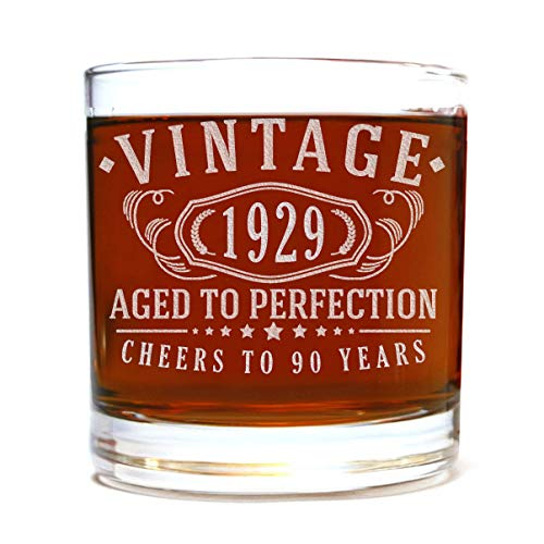 90th Birthday Etched 11oz Whiskey Rocks Glass - Vintage 1929 Aged to Perfection - 90 years old gifts Bourbon Scotch Lowball Old Fashioned