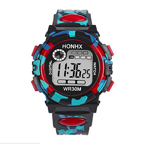 Rosepoem Niños Camo Relojes digitales LED de moda Reloj Reloj de pulsera impermeable Al aire libre: Amazon.es: Relojes