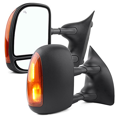 YITAMOTOR Towing Mirrors compatible for 99-07 Ford F250 F350 F450 F550 Super Duty Door Side Mirror Telescopic Heated Signal Light (2000 01 02 03 04 05 Ford Excursion)