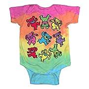 Liquid Blue Baby Grateful Dead Spiral Dancing Bears Onesie, Tie/Dye, 12-18 Months