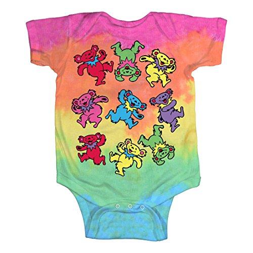Liquid Blue Baby Grateful Dead Spiral Dancing Bears Onesie, tie/dye, 0-6 Months