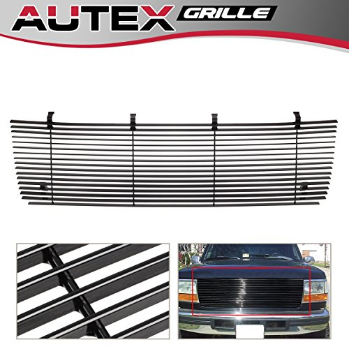 AUTEX F85007H Black Aluminum Billet Main Upper Grille Insert Compatible With Ford Bronco/F150/F250/F350 F-Series Pickup 1992 1993 1994 1995 - Cut Out Logo Grille