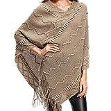 IEason Women top Womens V-Neck Solid Tassels Cloak Plus Size Sweater Easy Blouse Tops