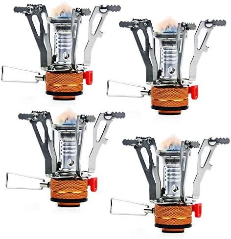 PARTYSAVING 4-Pack Pocket Size Collapsible Camping Stove Burner with Piezo Ignition System, APL1445