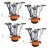 Cheap PARTYSAVING [4-Pack Pocket Size Collapsible Camping Stove Burner with Piezo Ignition System, APL1445