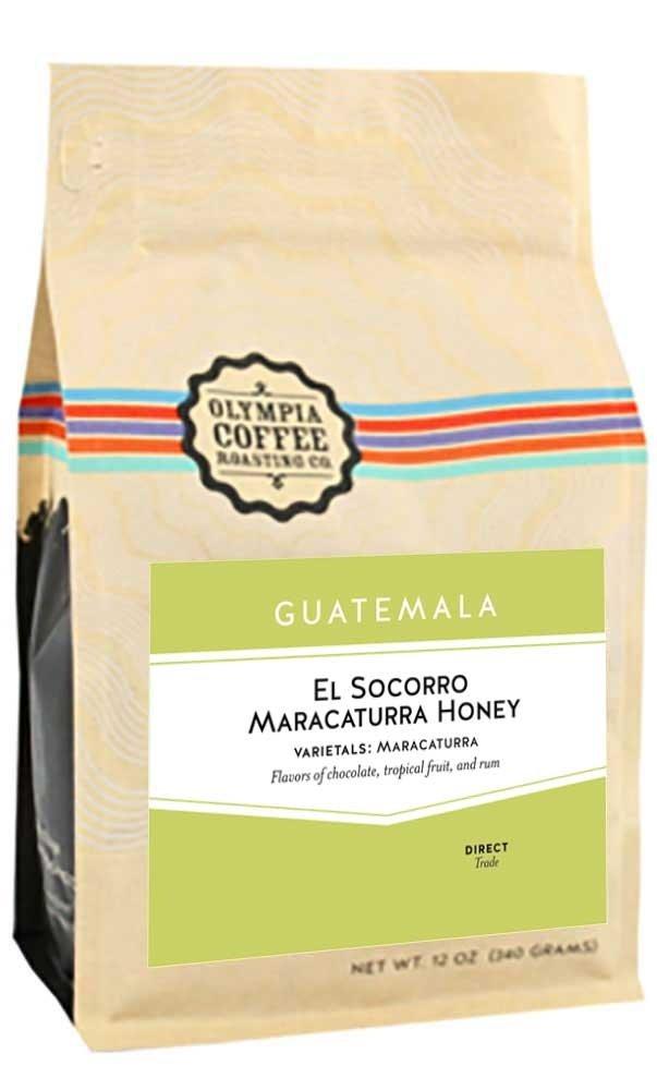 Olympia Coffee ''Guatemala El Socorro Maracaturra Honey'' Medium Roasted Whole Bean Coffee - 5 Pound Bag