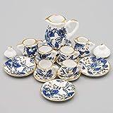 Toys : Odoria 1:12 Miniature 15PCS Blue Porcelain Chintz Tea Cup Set with Golden Trim Dollhouse Kitchen Accessories