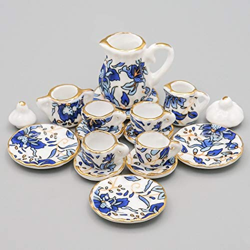 Dollhouse Tea - Odoria 1:12 Miniature 15PCS Blue Porcelain Chintz Tea Cup Set with Golden Trim Dollhouse Kitchen Accessories
