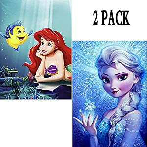 "2 Pack 5D Diamond Painting Frozen Elsa & Ariel Princess Full Drill by Number Kits for Adults Kids, Rhinestone Crystal Drawing Gift Embroidery Dotz Kit Home Wall Décor Paint(12""x 16"")"