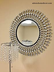 Modern Metal and Crystal Wall Mirror
