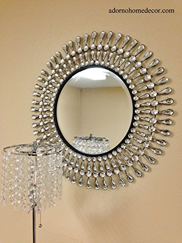 Cheap Metal Wall Round Modern Crystal Mirror Rustic Crystal Chic Wall Decor Unique NEW