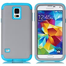 Galaxy S5 Case,LUOLNH 3-Piece High Impact Hybrid Defender Case For Samsung Galaxy S5 i9600 (not fit Galaxy S5 mini 2014)(Grey+Blue)