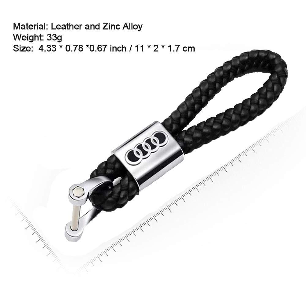 For Hyunda Logo KeyChain Metal Alloy BV Style Black Leather Key Ring for Man Boyfriend Woman
