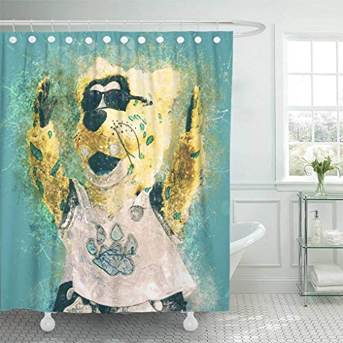 - Ladble Decor Shower Curtain Set with Hooks Jaxson Official Mascot Jacksonville Jaguars Blue Background Paint Art De Ville 66 X 72 Inches Polyester Waterproof Bathroom