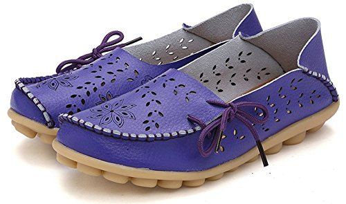 Fangsto Mujeres Floral Leather Slipper Mocasines Zapatos Planos Slip-ons Sty-2 Purple
