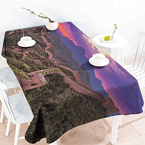 DILITECK Easy Care Tablecloth Great Wall of China Surreal Cloudscape in Fantasy Tones East Heritage Tourism Exotic Art Picnic W70 xL84 Violet Green