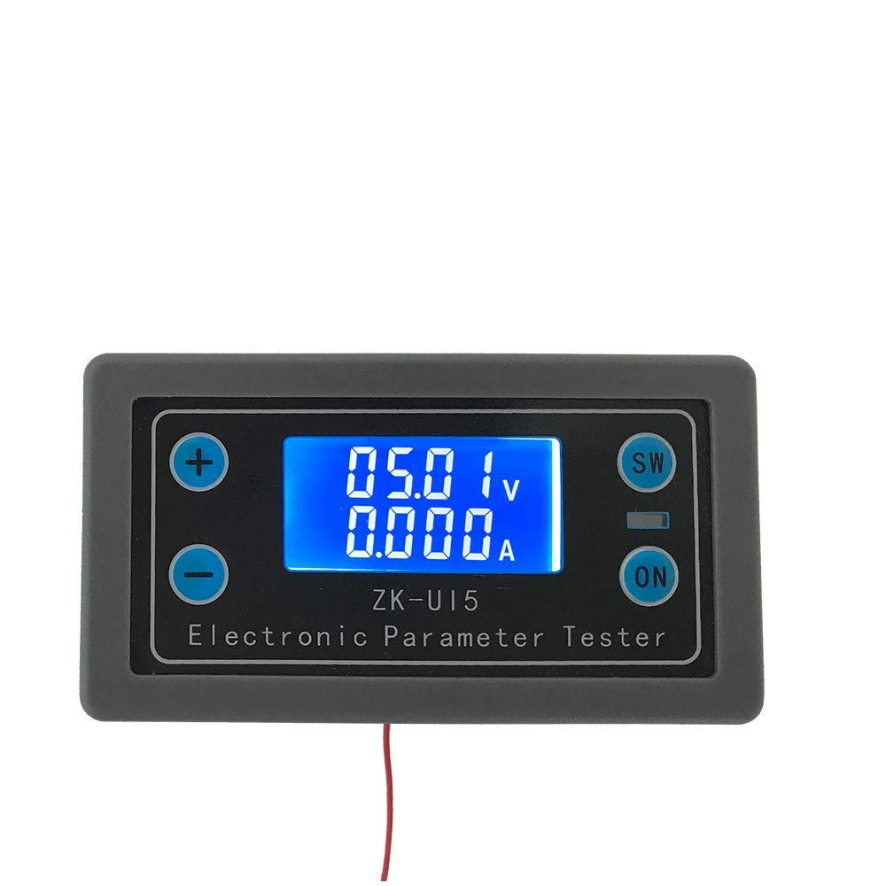 WHDTS DC 5-38V 0-5A Ammeter Voltmeter LCD Display Multimeter Battery Capacity Tester Power Tester Discharge Timer Temperature Display by WHDTS