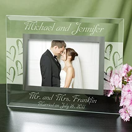GiftsForYouNow Mr  and Mrs  Wedding 4x6 Glass Picture Frame, Holds a 3 5