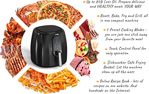 Automatic Electric Hot Air Fryer for Oilless Low-Fat Healthy Cooking - Large 5.2 L (5.5 Qt) Capacity - 1800W with Touch Panel - Free Accessory Set and Online Recipe Book - Fry - Roast - Bake - Grill by HOMIA (Image #5)