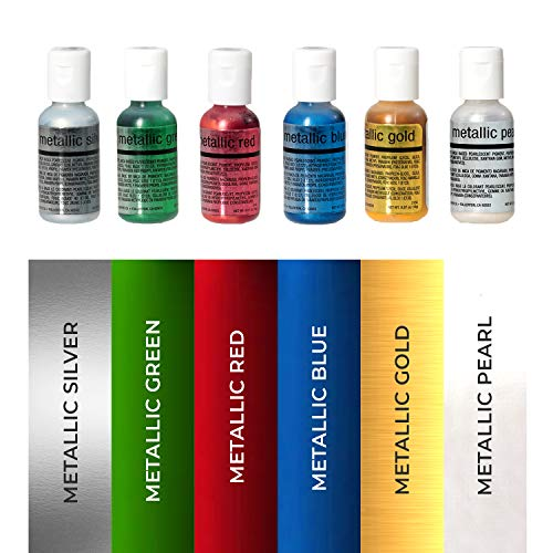 Chefmaster Airbrush Color Set, 6-Pack Metallic Airbrush Food ...
