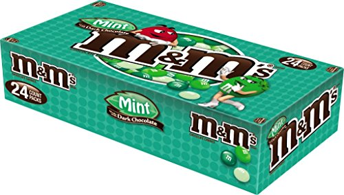 M&M'S Mint Dark Chocolate Candy Singles Size 1.5-Ounce Pouch 24-Count Box
