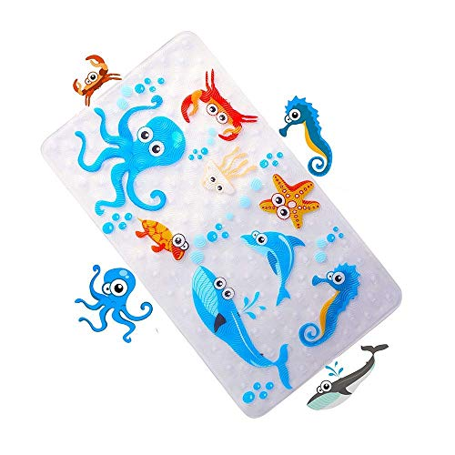 WARRAH Anti-Slip Bath Mats for Tub for Kids,Non-Slip Baby Shower Mats,Machine Washable Kids Bathtub Mats,27.5