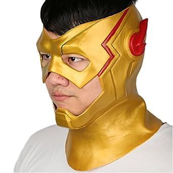 kid flash mask helmet costume props for halloween cosplay yellow latex - Costume Props