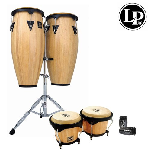 Latin Percussion LPA646K-900-KIT-1 LP Aspire 10-Inch and 11-Inch Wood Conga Set with Bongos, Natural Finish with 10-Inch Quinto, 11-Inch Conga, 6-3/4 and 8-Inch Bongos, Double Stand and LP201BK-p LP Rumba Shaker