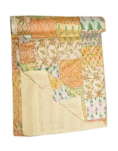 Tribal Asian Textiles Queen-Kantha-Quilt-Kantha-Blanket-Throw-Kantha-Bed-Cover-Kantha-Bedspread