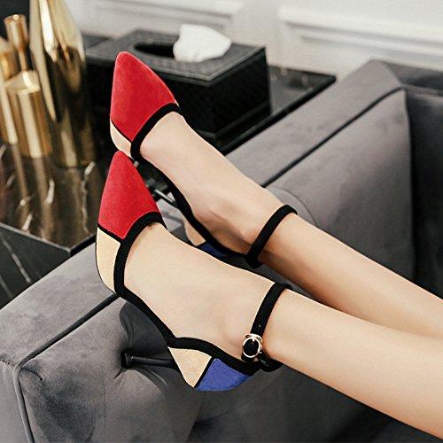Printemps et Automne Modèles Pointus avec des Chaussures à Talons Hauts Chaussures Simples Boucle Féminine avec des Chaussures de Couleur Assortie en Daim 1Color NeXtBOQS9f