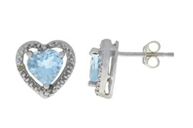 a4063fe7d43 Amazon.com: Genuine Aquamarine & Diamond Heart Stud Earrings 14Kt ...