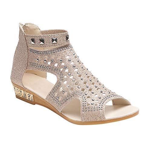 Sandales Wedge De Femmes Romaines Chaussures Bouche Gtagain Mode Creux Beige Printemps Plage Eté Strass Poisson Ladies 4vSvWq5wnf
