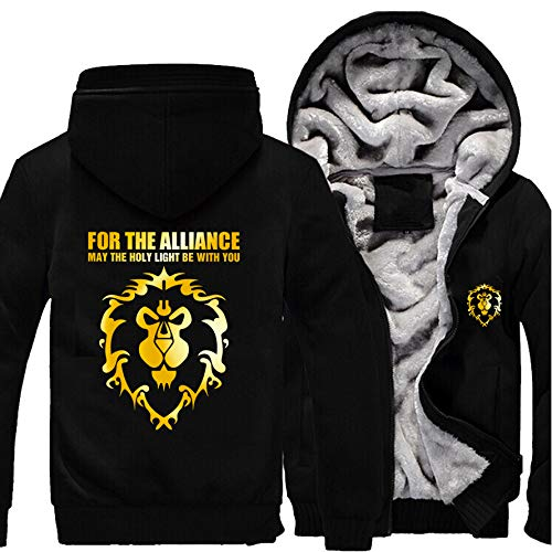 Game World of Warcraft Hooded Sweatshirt WOW Alliance Men Zipper Sweatshirt