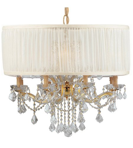 Gd Cls Crystorama Lighting (Chandeliers 8 Light With Gold Clear Swarovski Strass Clear Crystal Silk 30 inch 480 Watts - World of Lighting)