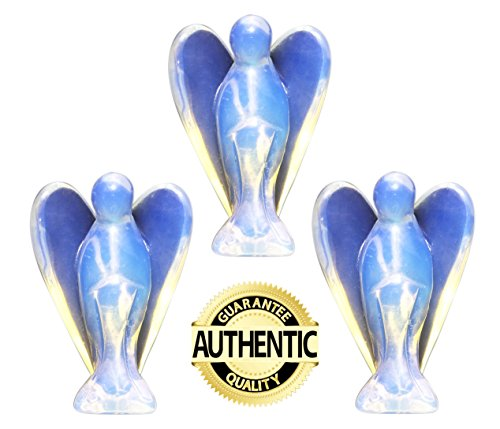Guardian Angels Figurines Set of 3, Pocket Size, Made of Opalite Representing Peace and Harmony, 3 for 2 Value Pack