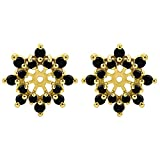 1/2 ct. Black Cubic Zirconia Cluster Style Earring Jacket set with Black Cubic Zirconia in Yellow Plated Sterling Silver (0.48 ct. twt.)