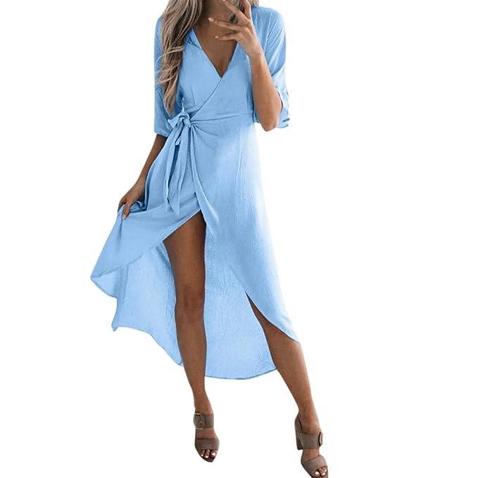 STRIR Mujer Vestido Verano 2018 Mangas Corta Cuello V Casual Vestido de Playa con Bolsillo Maxi