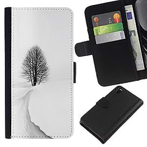 KLONGSHOP // Tirón de la caja Cartera de cuero con ranuras para tarjetas - Tormenta de Invierno Nieve Negro Árbol Blanco Hermoso - Sony Xperia Z3 D6603 //