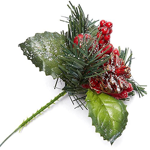 Factory Direct Craft Festive Snowy Red Pinecone and Berry Holiday Floral Picks for Indoor Decor - 12 Picks (Pinecone Red Berry)