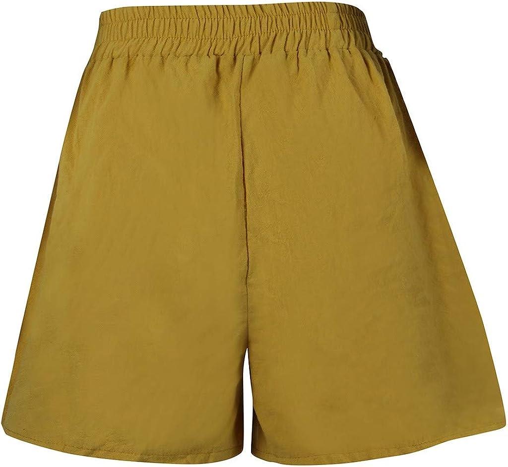 TOPUNDER Beach Shorts Women Casual Elastic Waist Trousers Loose Cotton Linen Solid Pants