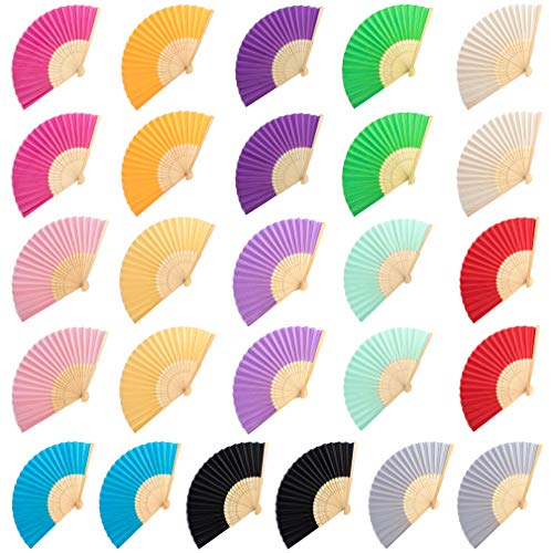 GAUSKY 26 Pieces Silk Folding Fans Hand Held Fans with Bamboo Frames for Dancing Wedding Party and Home DIY Decor (13 Assorted -