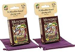 Munchkin Playing Cards _ Munchkin Themed Full Color _ Bundle of Two Identical Decks _ Bonus Two Purple Velveteen Storage Pouches _ Bundled Item