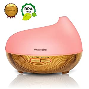 Aroma Essential Oil Diffuser - Ominihome 300ml Ultrasonic Cool Mist Humidifier - For Home Office Yoga - Wood Grain, Birthday Mother's Day Gift