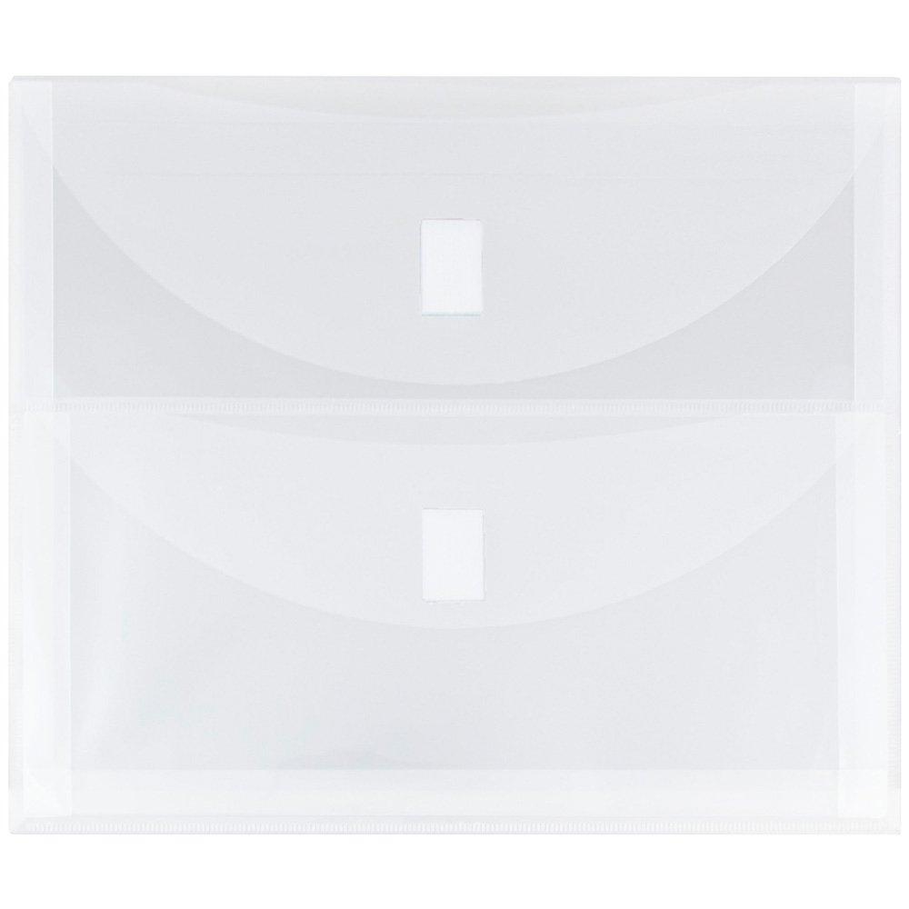 JAM PAPER Plastic Multi Pocket Envelopes with Hook & Loop Closure - 2 Pockets - Letter Booklet - 9 1/2 x 11 1/2 - Clear - 12/Pack