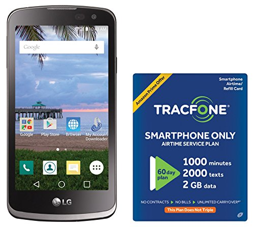 Tracfone Lg Rebel 4G Lte Prepaid Smartphone With Amazon Exclusive Free  40 Airtime Bundle