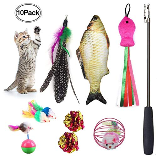 Cat Toys Set 10 Pieces Including Catnip Fish Interactive Feather Retractable Teaser Wand Fluffy Tumbler Mouse Mylar Crinkle Balls for Kitten (Kitty Teaser)