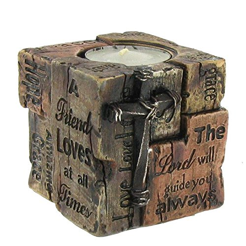 Coconut Grove Galleria Brown Rustic Faux Wood Word of God Cross Tea Light Cup Candle Holder Friend Lord